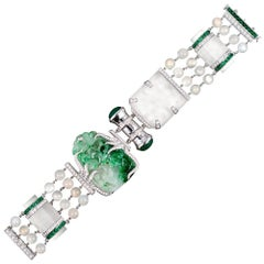 "Schepps Limited Edition ""Warhol""Jade Diamond Emerald Quartz Moonstone Bracelet"