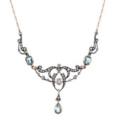 Victorian Aquamarine and Diamond Festoon Necklace with Original Box