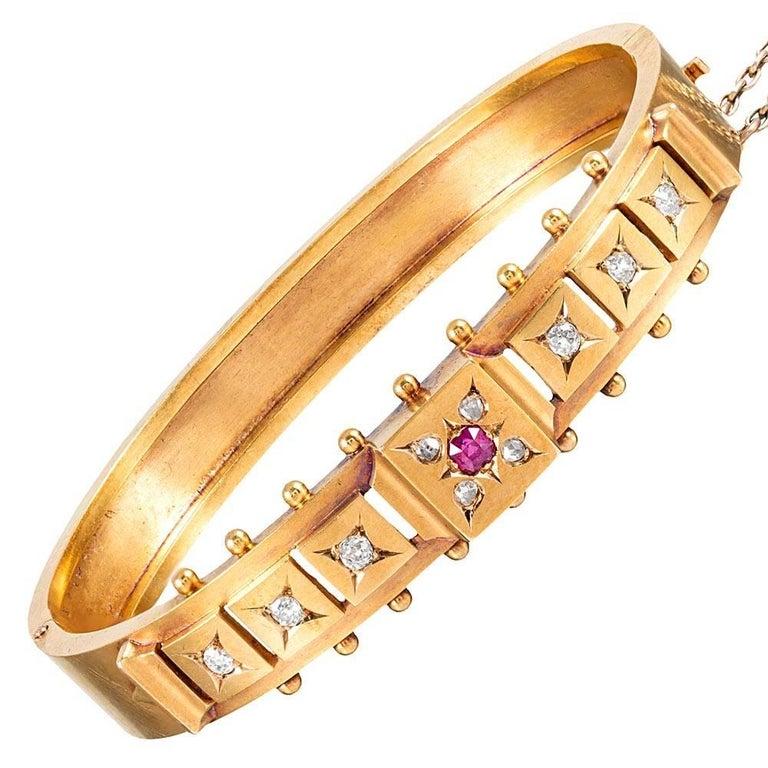 Victorian Diamond and Ruby Bangle Bracelet
