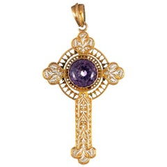 Victorian Amethyst and Enamel Cross Pendant