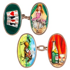 "Victorian Enamel ""Four Vices"" Cufflinks"