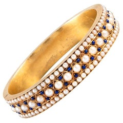 Impeccable Victorian Lapis and Pearl Bangle