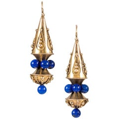 Etruscan Victorian Earrings with Lapis Beads