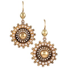 Victorian Golden Wheel Earrings with Pearls