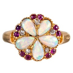 Victorian Opal, Diamond and Ruby Round Plaque Ring