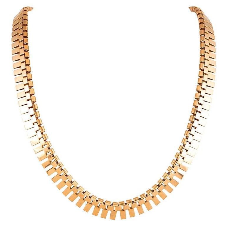 French Retro Rose Gold Fringe Necklace