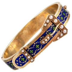 Victorian Royal Blue Enamel and Pearl Buckle Bracelet