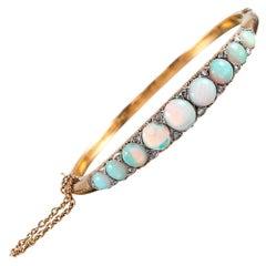 """English Carved"" Opal and Diamond Bangle Bracelet"