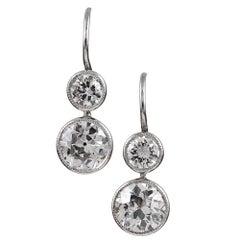 2.53 Carat Double Diamond Drop Earrings