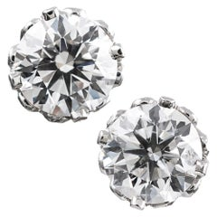 "4.02 Carat GIA Diamond Solitaire Stud Earrings in ""Diamond Crown"" Mountings"