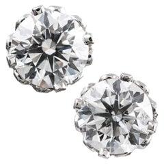 "4.02 Carat GIA Diamond Solitaire Stud Earrings in ""Diamond Crown"" Mountings"