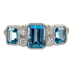 Art Deco Inspired Aquamarine and Diamond Ring