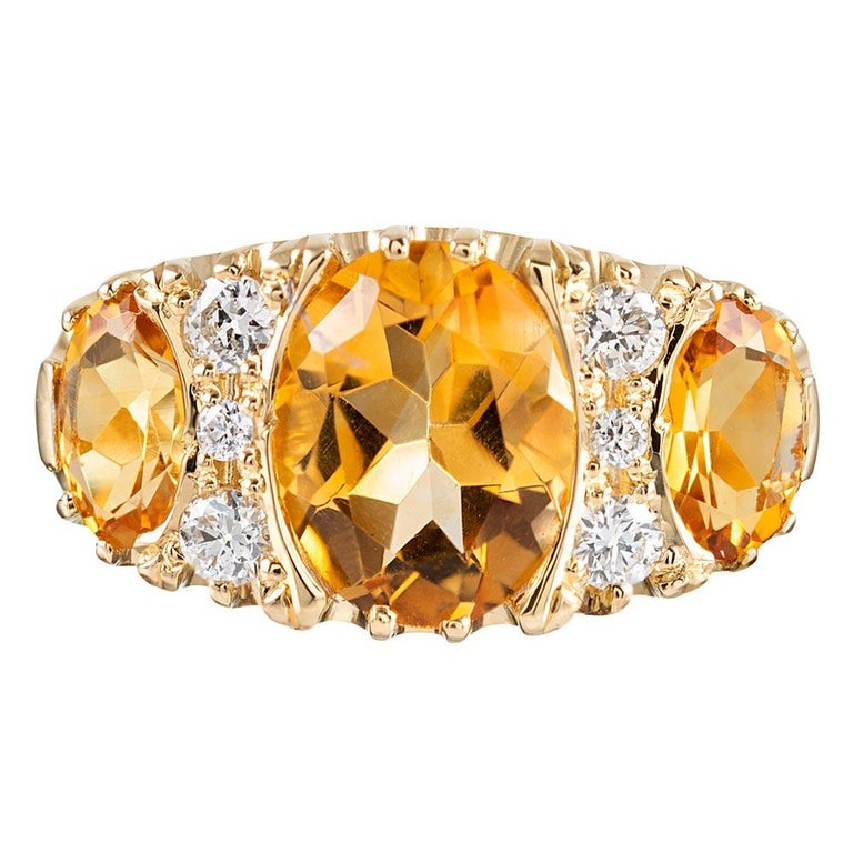 Victorian Inspired Citrine and Diamond Ring For Sale