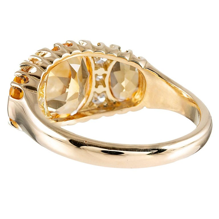 Victorian Inspired Citrine and Diamond Ring In New Condition For Sale In Carmel-by-the-Sea, CA