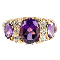 Victorian Inspired Amethyst and Diamond Ring