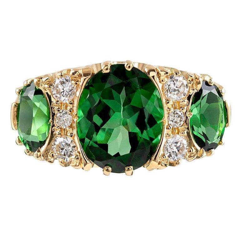 Victorian Inspired Green Tourmaline and Diamond Ring