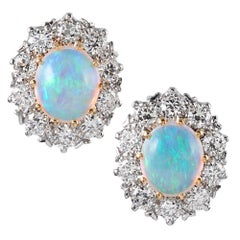 Oval Opal and Diamond Cluster Stud Earrings