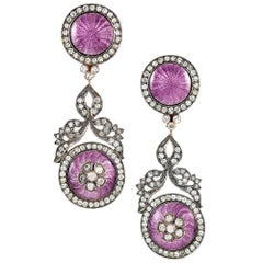 Antique Russian Earrings with Diamonds and Lavender Enamel Attributed to Faberge