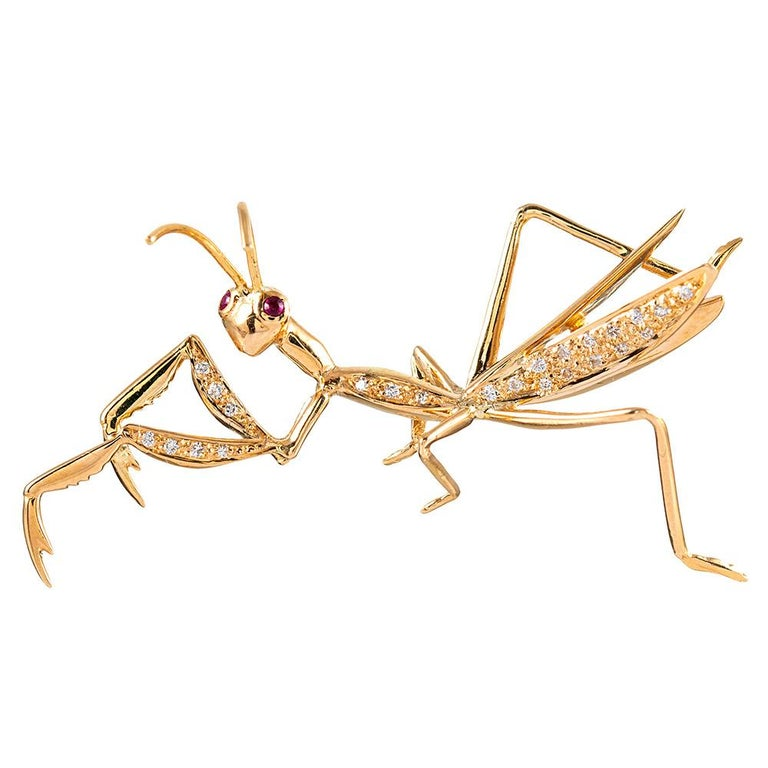 Golden Diamond Praying Mantis Brooch with Ruby Eyes