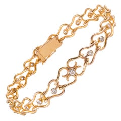 "18 Karat Gold and Diamond French Victorian ""Heart"" Link Bracelet"