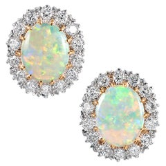 Oval Opal and Diamond Cluster Stud Earrings