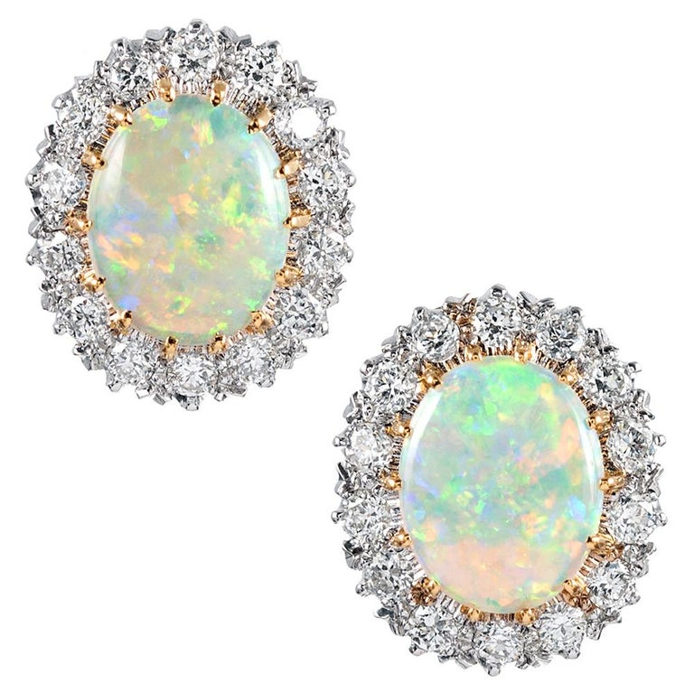 Oval Opal And Diamond Cer Stud Earrings For