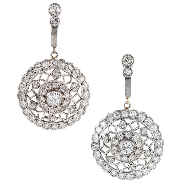 Handmade Diamond Lace Earrings