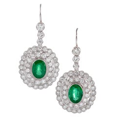 Large Emerald and Diamond Cluster Drop Earrings