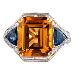 Citrine, Sapphire and Diamond Ring