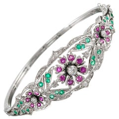 Antique Style Diamond, Ruby and Emerald Floral Bangle Bracelet