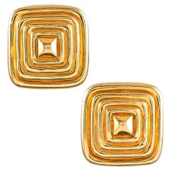 """1980s """"Golden Halo"""" Square Ear Clips"""