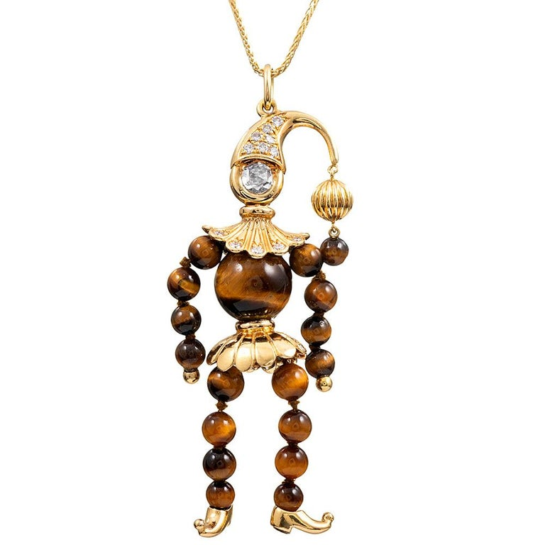Tiger's Eye & Diamond Jester Pendant, Signed Emil Meister For Sale
