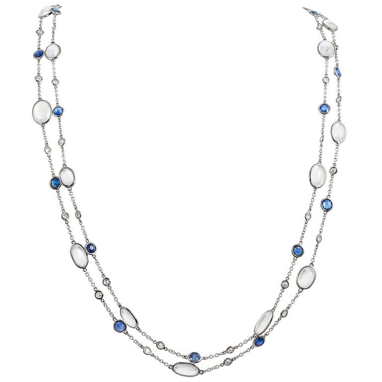 Diamond, Sapphire and Moonstone Chain For Sale