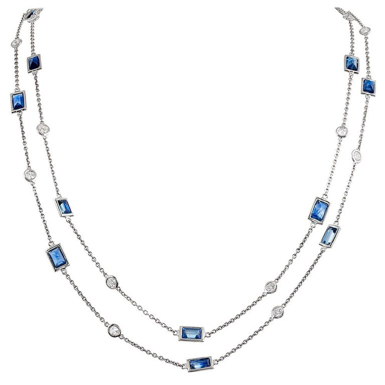 Diamond and Sapphire Chain For Sale