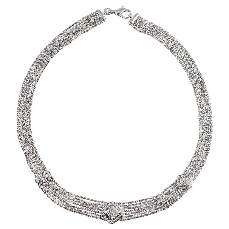 White Gold and Diamond Mesh Bracelet and Necklace Suite In Excellent Condition For Sale In Carmel-by-the-Sea, CA