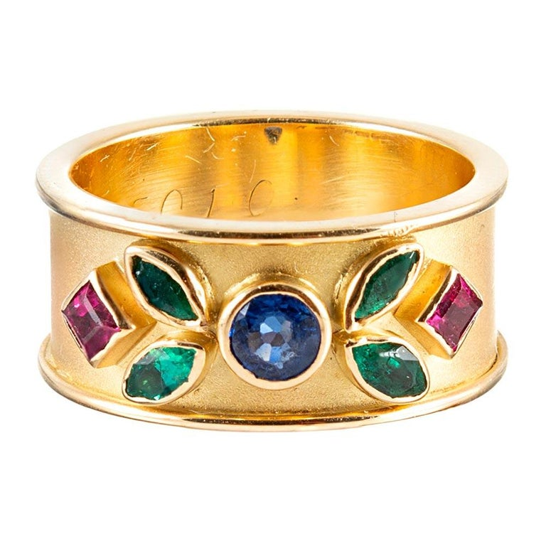 Wide Golden Band with Colored Gemstones For Sale
