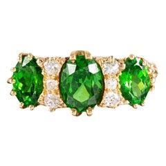 Classic English  Demantoid Garnet and Diamond English Carved Ring