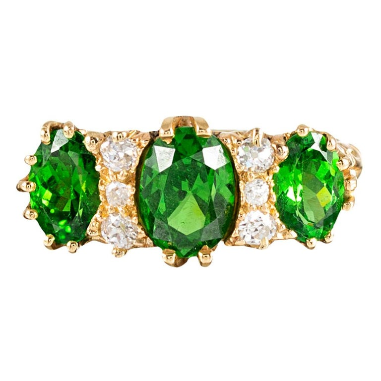 Classic English  Demantoid Garnet and Diamond English Carved Ring For Sale
