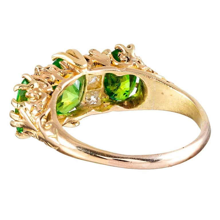 Victorian Classic English  Demantoid Garnet and Diamond English Carved Ring For Sale