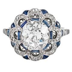 Art Deco Style 2.27 Carat Old European Cut Diamond Ring