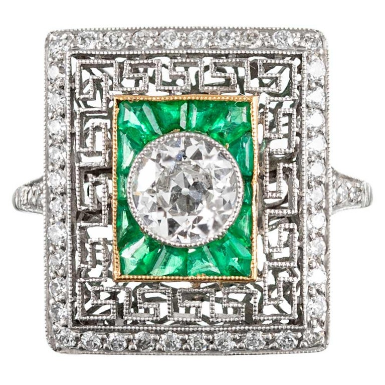 Art Deco Style Old European Cut Diamond Plaque Ring with Emeralds For Sale