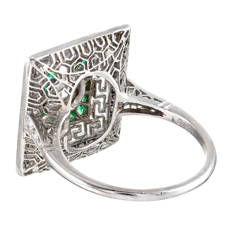 Art Deco Style Old European Cut Diamond Plaque Ring with Emeralds In Excellent Condition For Sale In Carmel-by-the-Sea, CA