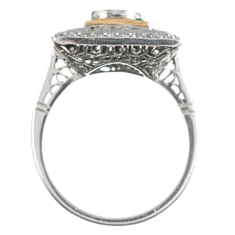 Women's Art Deco Style Old European Cut Diamond Plaque Ring with Emeralds For Sale