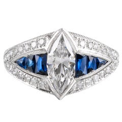Marquis Diamond and Sapphire Ring
