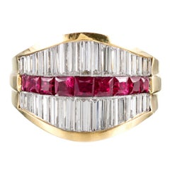 Tapered Baguette Diamond and Ruby Ring