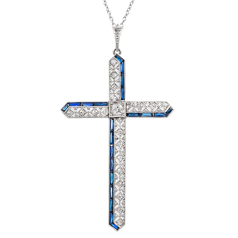 Edwardian Diamond and Synthetic Sapphire Cross Pendant
