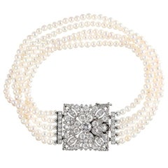 Art Deco Five Strand Pearl and Diamond Bracelet