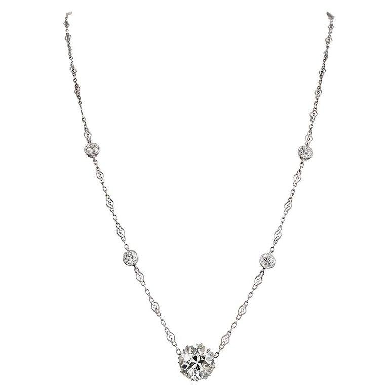4.05 Carat Diamond Solitaire Necklace