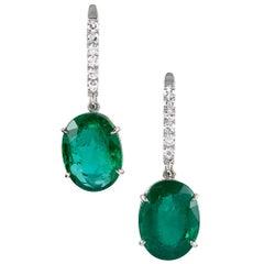 9.26 Carat Emerald Earrings with Diamonds