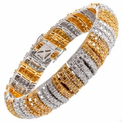 18.10 Carat Intense Yellow and White Diamond Stripe Bracelet